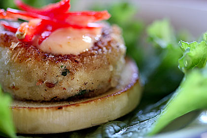 Crab Cake on Heart of Palm medallion